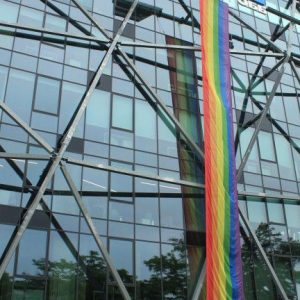 Незивестни подпалиха 21-метровия флаг с цветовете на дъгата върху сградата на Walltopia (видео)